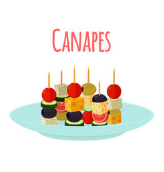 Canapes tapas on plate flat style vector
