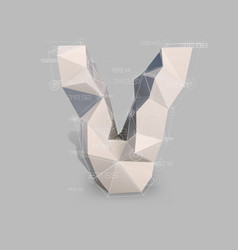 capital latin letter v in low poly style vector image