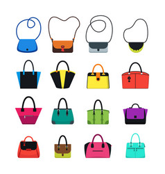 Cartoon handbag or female bags color icons set vector