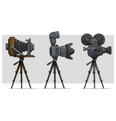 cartoon movie and photo camera on tripod set vector image