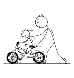 cartoon of father and son learning to ride a bike vector image