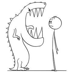 Cartoon shocked man watching mouth vector