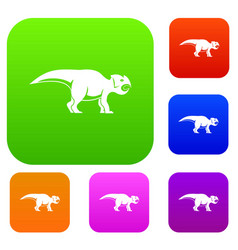 ceratopsians dinosaur set color collection vector image