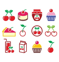 Cherry fruit cake jam icons set vector