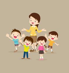 Childrens stand around teacher vector