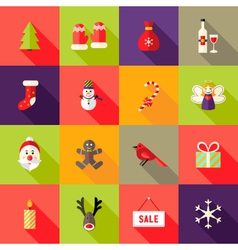 Christmas Square Flat Icons Set 4 vector image