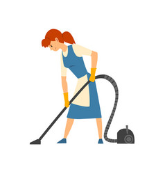 Cleaning woman vacuuming floor maid character vector