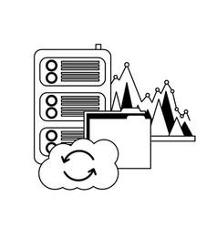 cloud computing folder database center statistics vector image