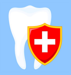 colorful cartoon shield protecting tooth vector image