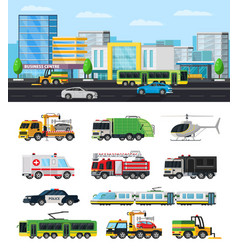 Colorful city transport collection vector
