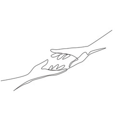 Continuous one line drawing two hands reaching vector
