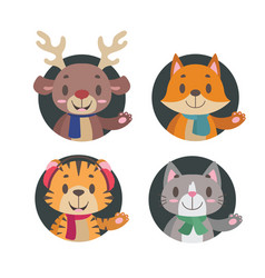 cute little animals in winter apparel vector image