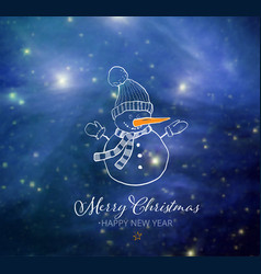 cute snowman on blue night sky glowing background vector image