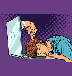 deadline concept tired man at the laptop vector image