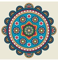Doodle boho floral round motif vector
