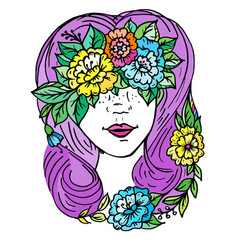 Doodle print girl s face with hair and flowers vector