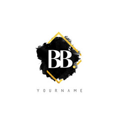double bb b letters logo design with black ink vector image