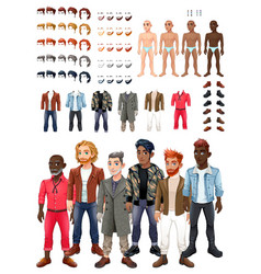 dresses and hairstyles game with male avatars vector image