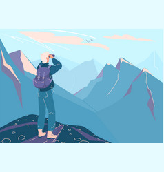 explore mountain background man with vector image