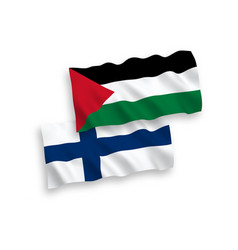 Flags finland and palestine on a white vector