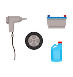 flat car service maintenance icons set vector image