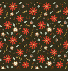 Floral seamless pattern flowers color sketch vector