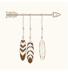 free spirit arrow feathers tribal vector image vector image