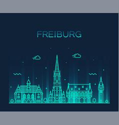 Freiburg breisgau baden linear city germany vector