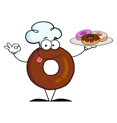 Friendly Donut Chef Cartoon Character vector