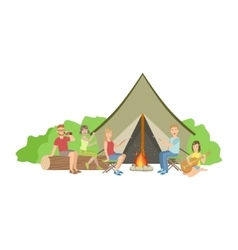 Friends Camping Together Sitting Next To Bonfire vector image
