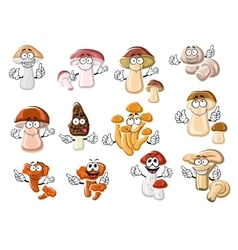Funny cartoon forest edible mushrooms vector