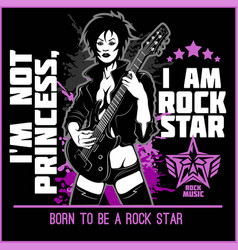 guitar lady on dark background - rock star slogan vector image