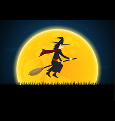 halloween witch on broom moon graveyard vector image
