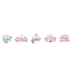 happy easter symbols logo badges and vector image