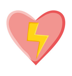 heart love with power ray pop art style vector image