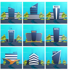 Hotel building guest house travel and trip vector