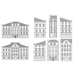 Houses old european city street with buildings vector