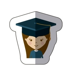 Isolated girl with graduation cap design vector