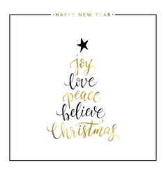 Joy love peace believe Christmas gold text vector