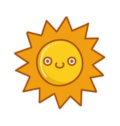 kawaii sun emoticon cartoon vector image