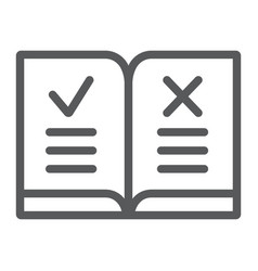 Law book line icon justice and law rules book vector