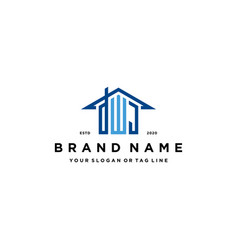 Letter dwj home roof logo design and business card vector