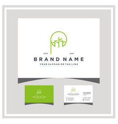 Letter p tree trunk logo design with business card vector