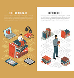 Library network vertical banners vector