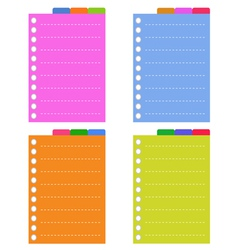 Lined Spiral Notepad Papers with Tabs vector image