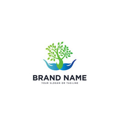 Logo design hand and tree vector