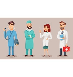 Medical Professionals People Retro Cartoon Poster vector