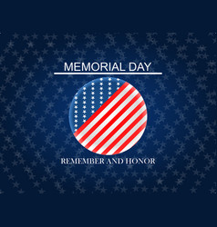 memorial day remember and honor with usa circle vector image