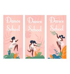 Modern classic dance school invitation flyers set vector