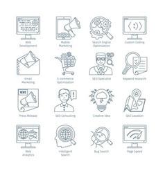 Modern SEO Thin Line Icons vector image